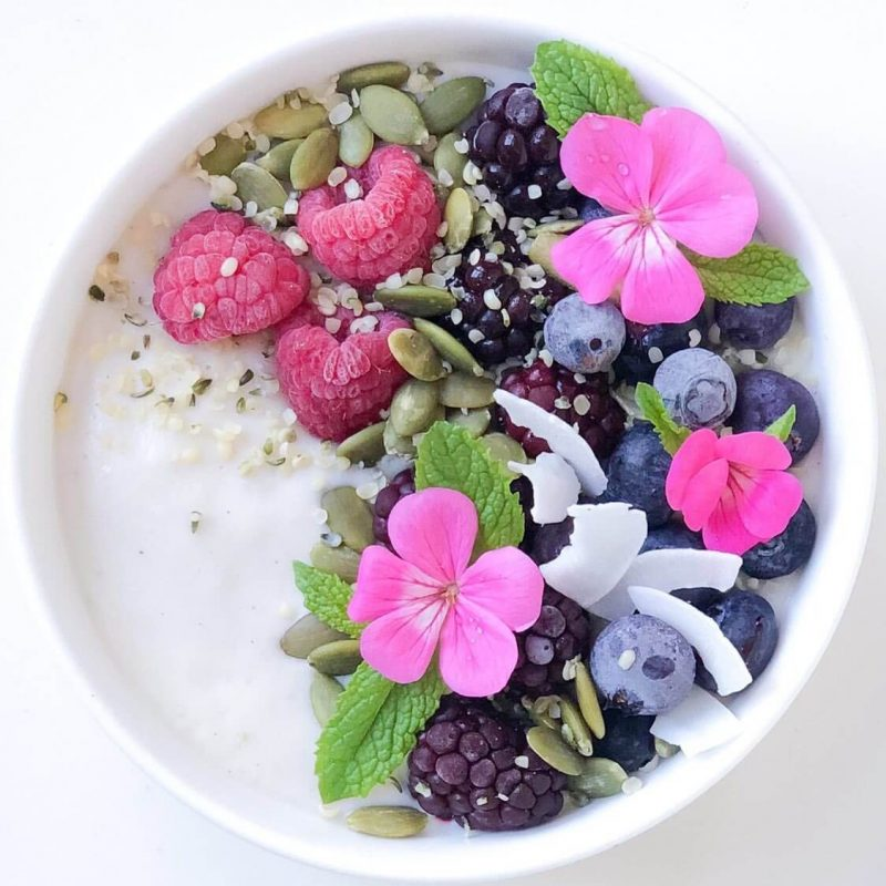 Food and Flower in bowl Image