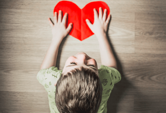 Child with heart image