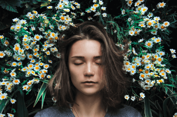 Girl with white flower image