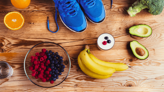 Shoes food and fruit image